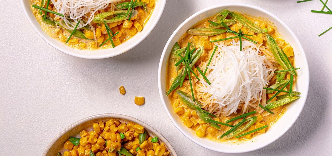 Noodle soup with corn and yellow curry