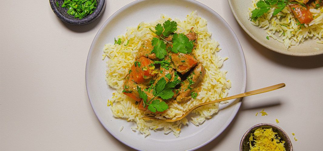 Sweet potato and chicken curry with lemon rice